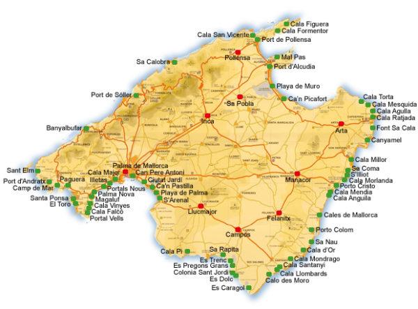 Mallorca rannad, Mallorca kaart